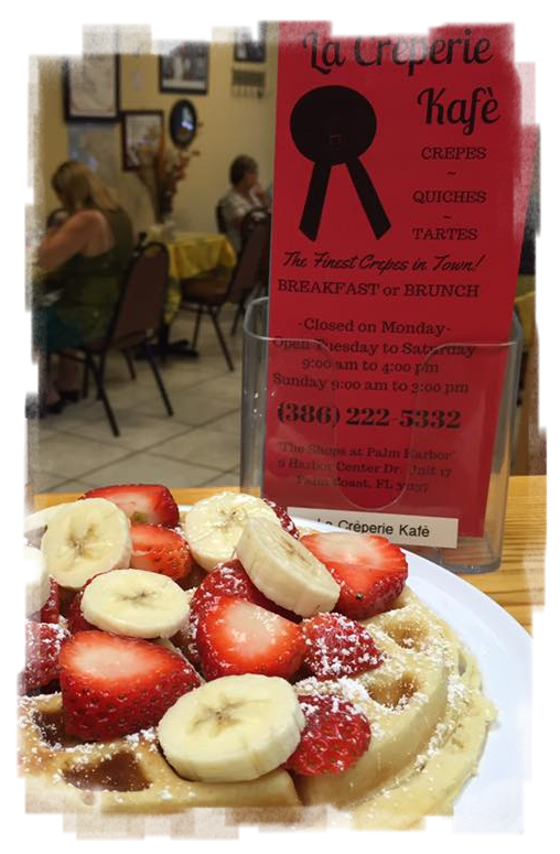 Waffle with Fruit at La Creperie Kafe